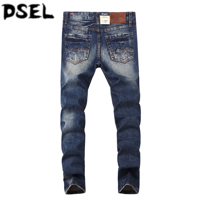 ФОТО Italian Style Fashion Men Jeans High Quality Slim Fit Destroyed Ripped Jeans For Men DSEL Brand Denim Stripe Biker Jeans Pants