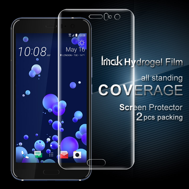 2PCS Full Coverage For HTC U11 Full Screen Protector And Back Cover Protector Imak All Standing Hydrogel Film For HTC U11 5.5