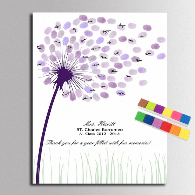 Wedding Guest Book Fingerprints Tree Painting Comunion Baby Shower  Decorations Dandelion Canvas Party Wedding Gifts For