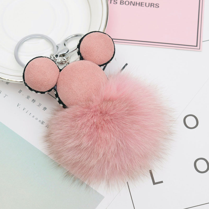 Fashion Fox Fur Mickey Pompon Fur Ball Key chain for Women Keyring Fluffy Fur Ball for Key Holder luxury keychain image