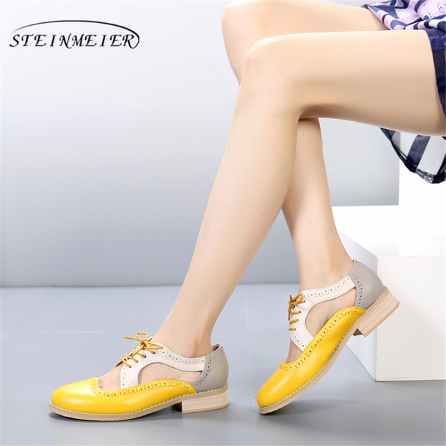 5b9db801eb03 Genuine Leather summer oxford sandals big woman shoes US 11 round toe  handmade pink yellow black 2018 oxfords shoes for women