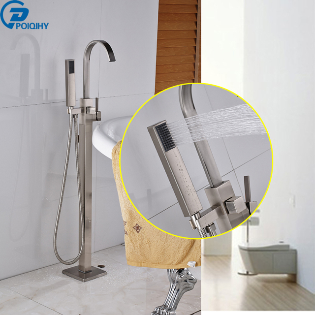 POIQIHY brushed free standing bathtub faucet mixer tap handheld ...