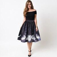 Casual Retro 3D Galaxy Moon Print Skater Skirts Summer Women High Waist Ball Gown Knee Length