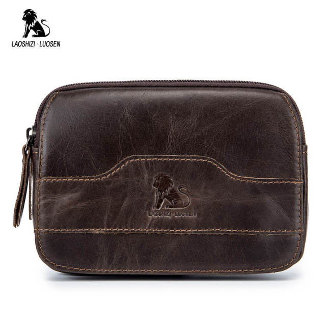 f4dcddccbe1d LAOSHIZI LUOSEN Men Waist Packs Genuine Leather Waist Bag Male Travel Waist  Pack Fanny Pack Belt Bag Phone Pouch Bags Brown