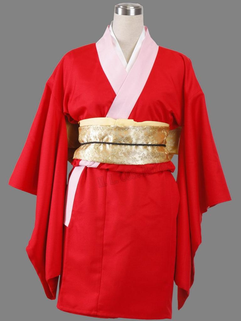 New Silver Soul Gintama Kagura Cosplay Costume Whole Set Kimono Cloth Customized