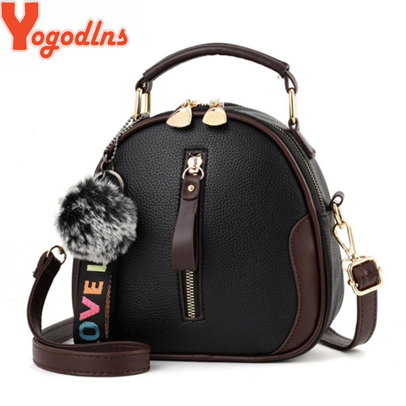 Yogodlns Fashion Solid Color Women Shell Bag Portable Shoulder Bag Fashion PU Leather Elegant Female Bag With Gray Hair Ball