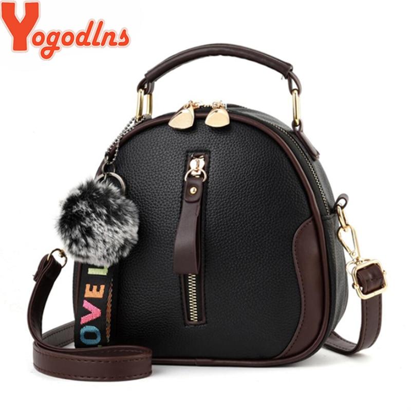 Yogodlns Fashion Solid Color Women Shell Bag Portable Shoulder Bag Fashion PU Leather Elegant Female Bag With Gray Hair Ball