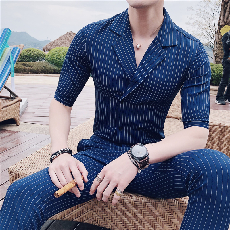 Summer Double Breasted Suits blue stripe Stripe Suits Mens Dress Slim Fit British Style Suits With Pants Club Terno Slim Fit fashion 2018 mens stripe shirts and pants korea style two piece set loose v neck casual erkek giyim slim fit social club outfits