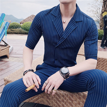 Summer Double Breasted Suits blue stripe Stripe Mens Dress Slim Fit British Style With Pants Club Terno