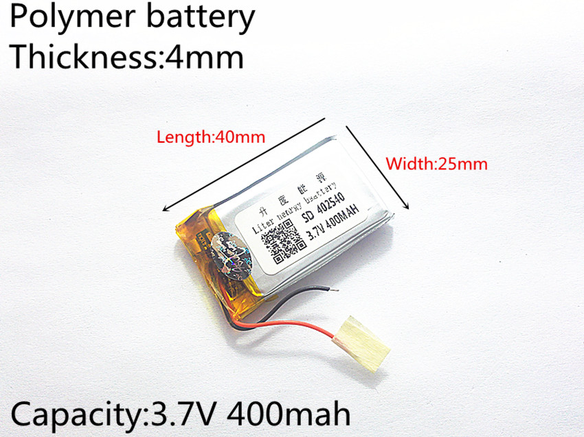 3.7V 400mAh <font><b>402540</b></font> Lithium Polymer Li-Po li ion Rechargeable Battery cells For Mp3 MP4 MP5 GPS PSP mobile bluetooth image
