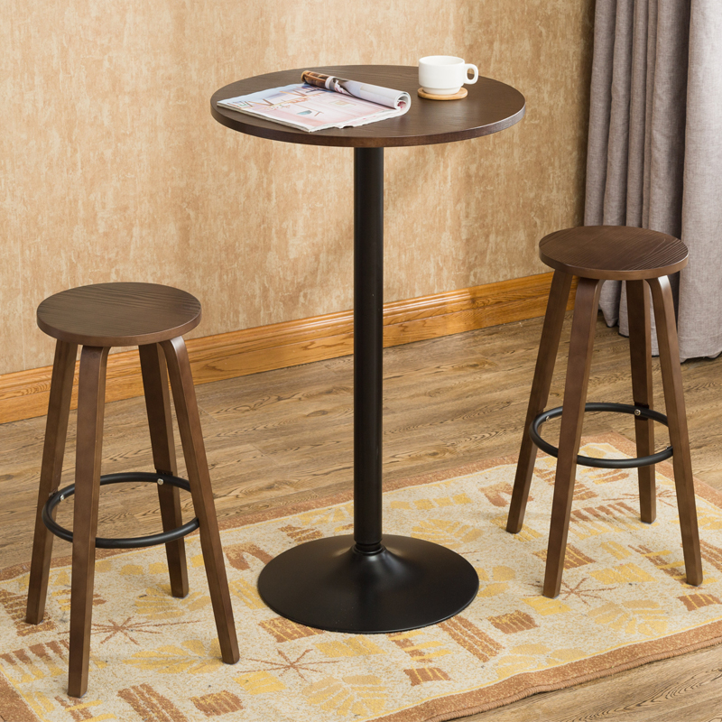 3 Pcs Bar Stool Table Set Indoor Kitchen Dining Cafe Furniture Round Bar  Table Chair For Home Restaurant Breakfast Table Wooden In Café Furniture  Sets From ...