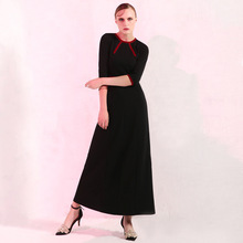 2017 New autumn dress women's knitted dress retro ladies slim three quarter sleeve brief dresses female long dress