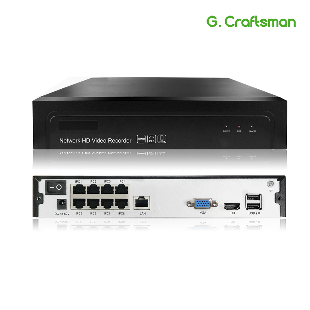 8ch POE 5MP NVR H.265 NVR enregistreur vidéo réseau jusqu'à 16ch 1 HDD 24/7 enregistrement caméra IP Onvif 2.6 système P2P G. Cartisan