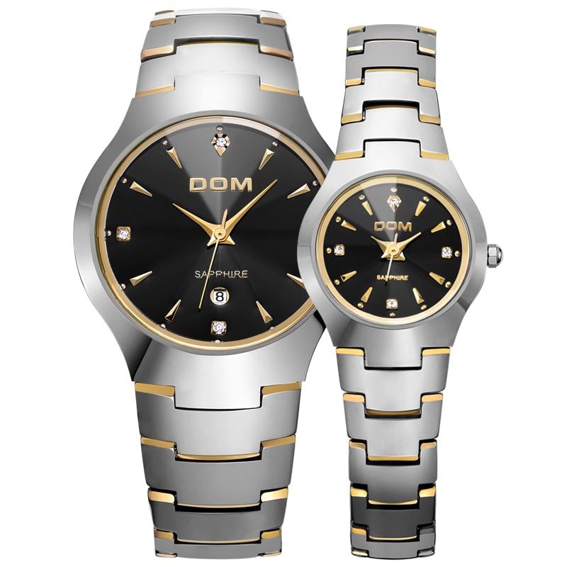 2016 DOM Lovers Rhinestone Quartz Wristwatch Luxury Fashion Tungsten Steel Couple Waterproof Autodate Sapphire Crystal Watches