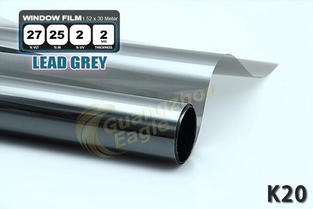 1.52 * 30 m de alto rendimiento del coche del animal doméstico Solar Car Window Tint Film Foil envío gratis / plomo gris / K-20