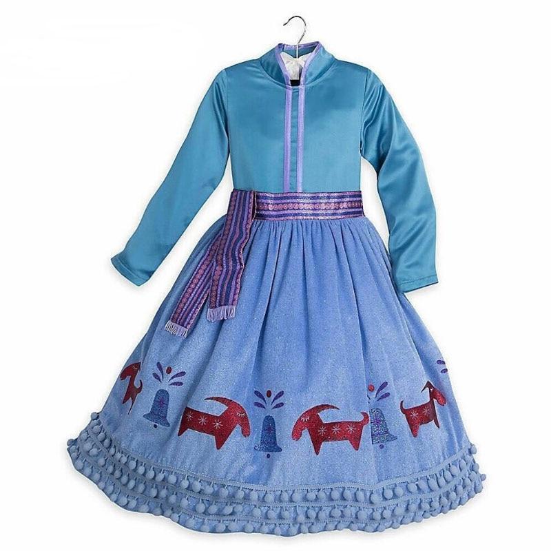 2020 New Elsa Dress Girls Party Vestidos Cosplay Girl Clothing Anna Snow Queen Print Birthday Princess Dress Kids Costume 4