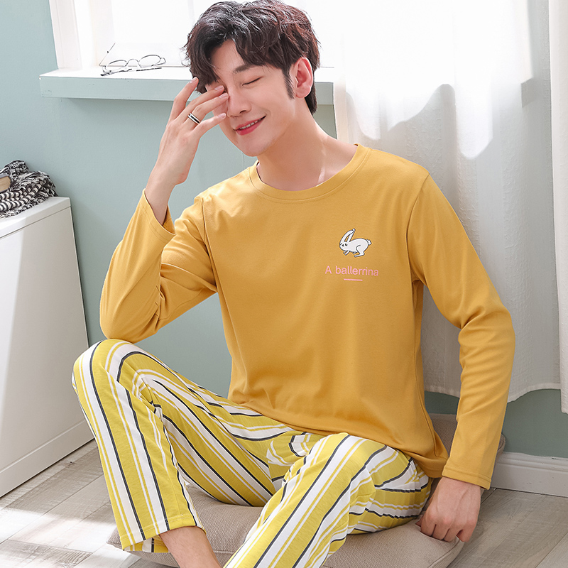 Brand Autumn Men's Cotton Pajamas Letter Striped Sleepwear Cartoon Pajama Sets Casual Lounge Suits Pyjamas Plus Size 3XL Pijama