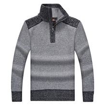 Sweater Men Casual Patchwork Stand Collar Cotton Mens Pullover Sweater Patterns Brand Clothing Winter Coat