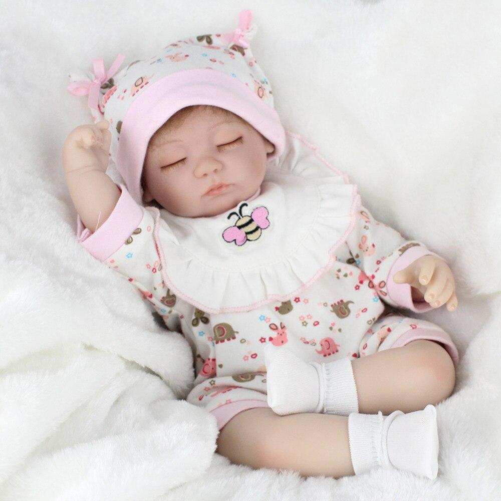 Simulation Baby Dolls Soft Realistic Silicone Eyes Closed Sleeping Girl Dolls Lifelike Newborn Doll Girls Gift Baby Toys