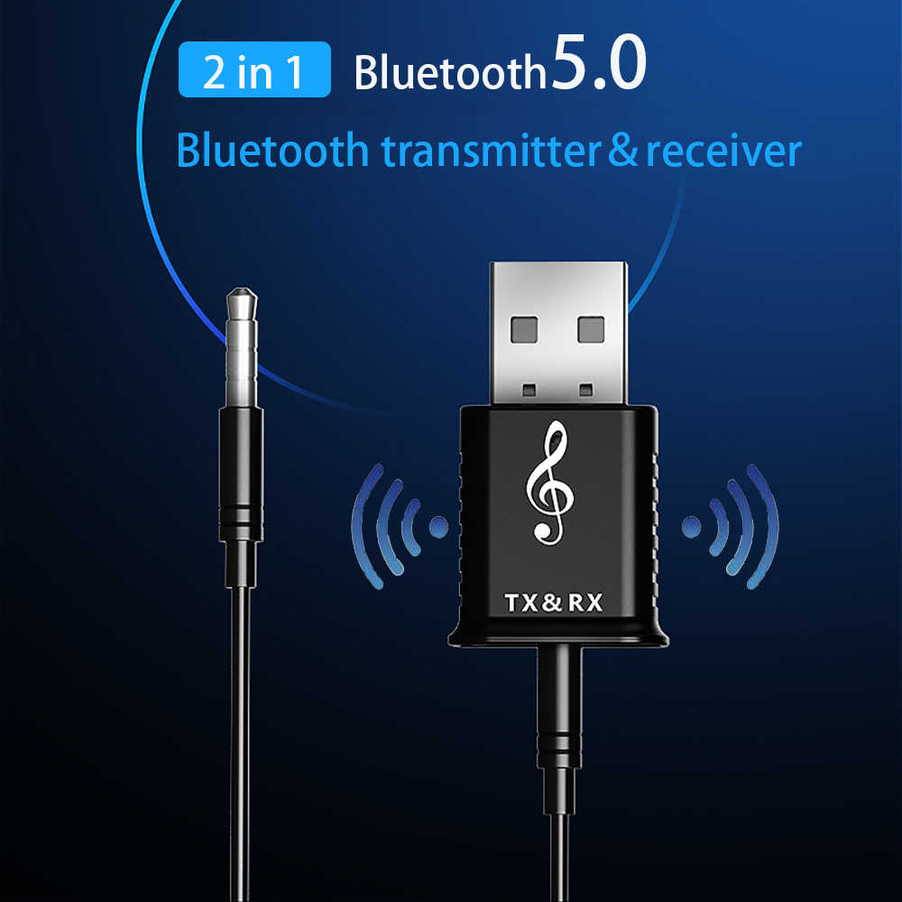 Bluetooth 5.0 Audio Transmitter Receiver 2 in 1 USB Bluetooth Transmitter Mini 3.5mm AUX Stereo For TV PC Car Wireless Adapter