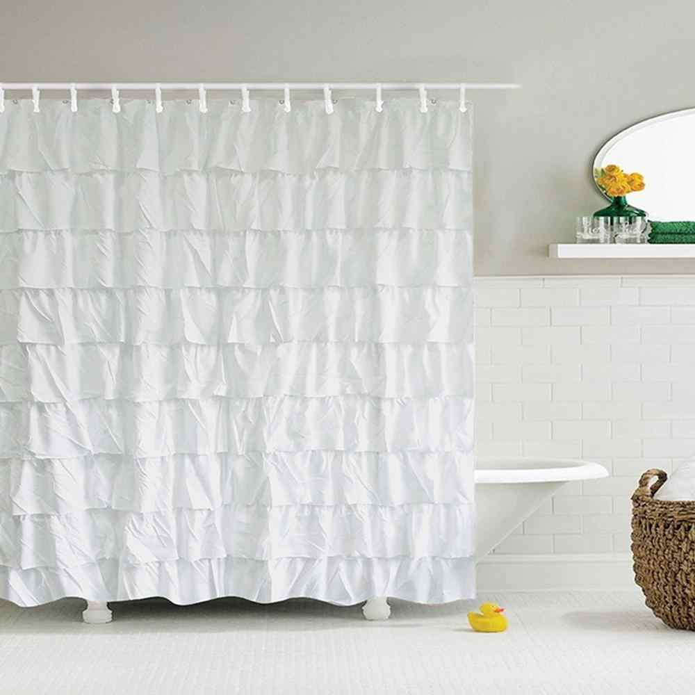 180*180cm White Shower Curtain Fabric/Ruffle fit most tub/shower areas opaque Anti-wrinkle Heat-resistant Shower Curtain for Bat
