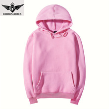 KORKSLORES new men casual Hoodies sweatshirt Solid color Print trend Fleece Cotton pullover coat warm Clothes Factory outlet(China)