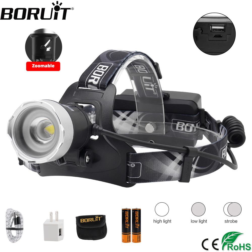 BORUiT B13 5000LM XM-L2 LED Headlamp 3-Mode Zoom Headlight Rechargeable Power Bank Head Torch Fishing Hunting Flasglight