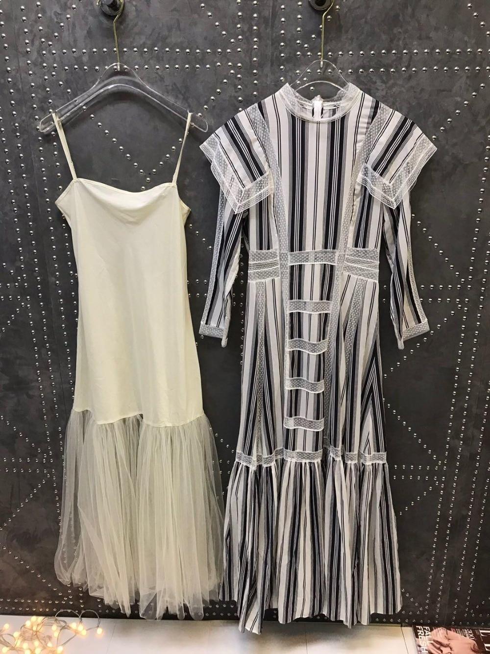 2019 Ранняя весна Дамы Новый Полосатый кружево длинное платье 0328