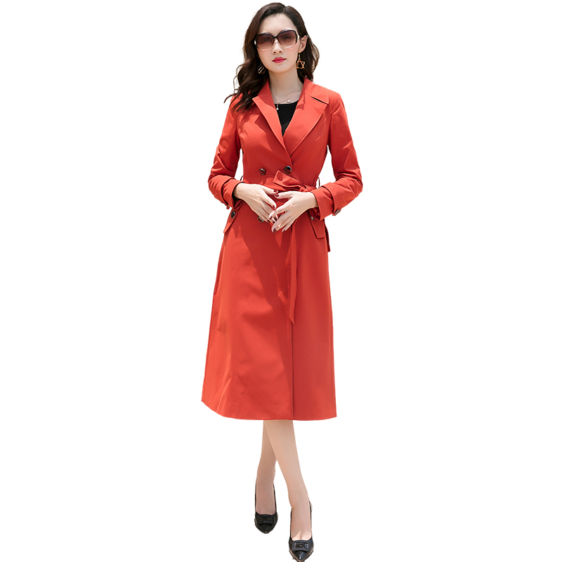 Spring Women   Trench   Coat Dark Red Long Overcoat Female Double Breasted Lapel With Belt womens windbreakers