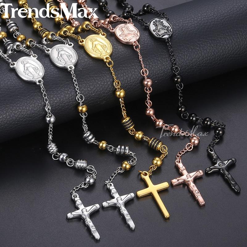 Lang rosenkæde halskæde til mænd kvinder rustfrit stål perlekæde kryds vedhæng kvinders mænds gave smykker KN434