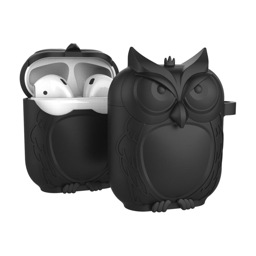 Cute Owl Shape Soft Silicone Shockproof Cover Protective Case With Carabiner For Apple AirPods Earphone Waterproof Case