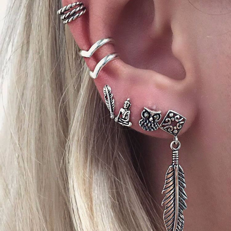7pcs Bohemian Vintage anchor leaf owl Fashion Retro Earrings Ear Ring Set Earrings Fashion Jewelry For Women