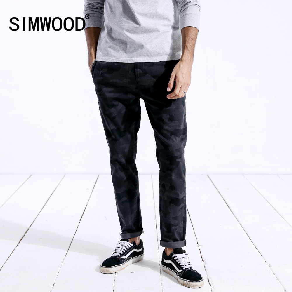 SIMWOOD 2019 Autumn New Pants Men Fashion Camouflage Gray Slim Fit Long Trousers Male Elastic Waist Causal Pants For Man 180410