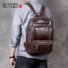 AETOO Vintage leather shoulder bag, personality head cowhide Backpack, male lady bag trend computer bag bag head bag