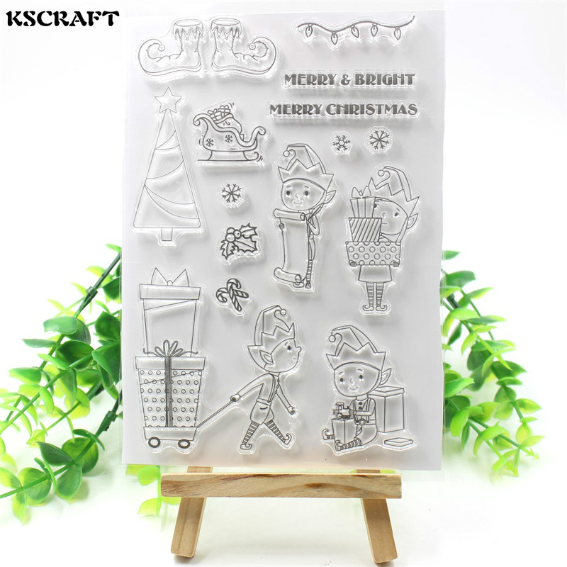 KSCRAFT Christmas Elf Transparent Clear Silicone Stamps for DIY Scrapbooking/Card Making/Kids Fun Decoration Supplies tools transparent clear silicone stamps for diy scrapbooking card making kids christmas fun decoration supplies