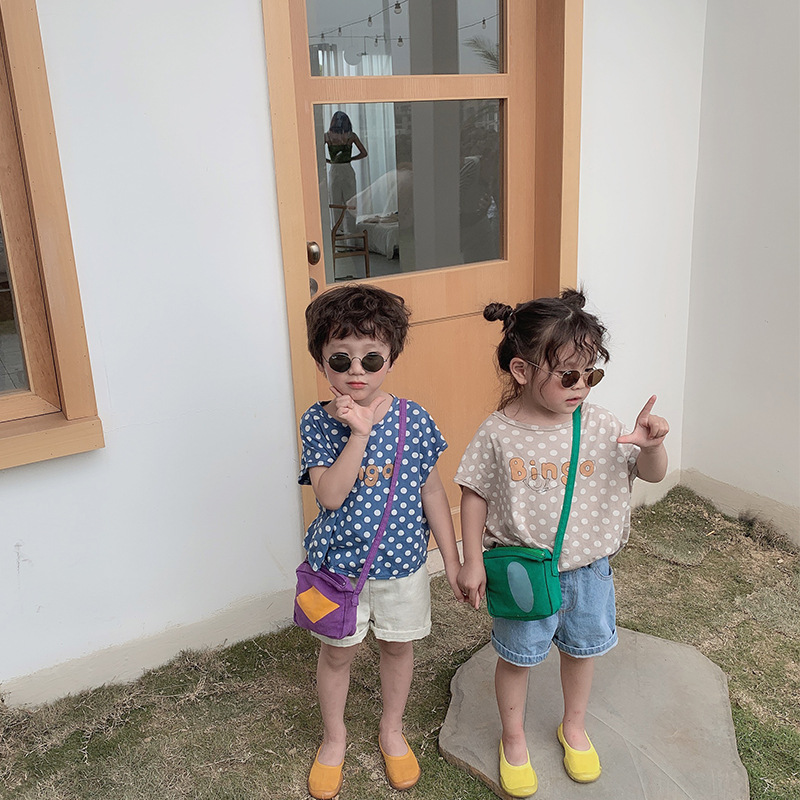 T-Shirts Korean-Style Printed Girls Boys Cotton Cartoon Summer Dot Casual for And Tees