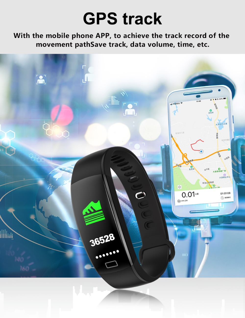Smart Wristband 2018 Bracelet F64 Smartband gps waterproof sleep monitor Fitness Bracelet Smart Watch Call Alarm For iOS Android (12)