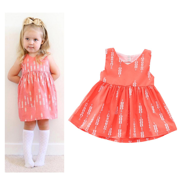 Little Girls Summer Tutu Dresses V Neck Infant Party Dress Toddler