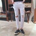 Горячий Продавать Белый Рваные Джинсы Мужчины С Отверстиями Супер Узкие дизайнерский Бренд Slim Fit Разрушенные Torn Жан Брюки Для Мужчин S-XL