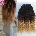 Ombre Peruvian Kinky Curly Virgin Hair 3 Bundles/lot Ombre Blonde Hair Bundles Peruvian Curly Hair Wet And Wavy Human Hair