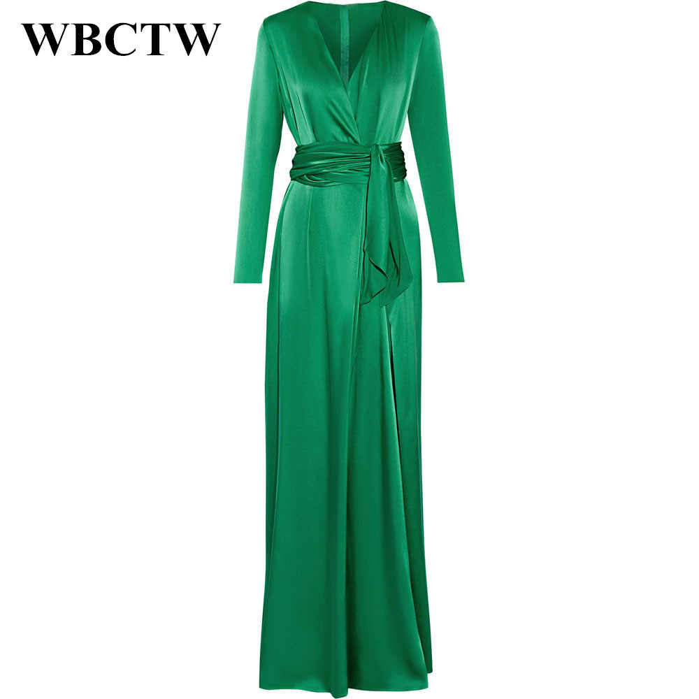 729a9b0228c8b WBCTW Woman Dress Spring Summer Elegant Long Sleeve Slim Runway Dress 2019  Solid Satin Dress V