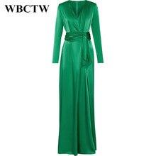 WBCTW Woman Dress Spring Summer Elegant Long Sleeve Slim Runway Dress 2018 Solid Satin Dress V-Neck High Waist Maxi Long Dress