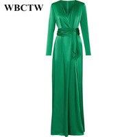 WBCTW Woman Dress Spring Summer Elegant Long Sleeve Slim Runway Dress 2018 Solid Satin Dress V Neck High Waist Maxi Long Dress