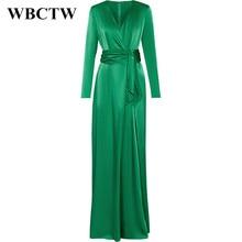 Woman Dress Spring Summer Elegant Long Sleeve Slim Runway Dress 2017 Solid Green Satin Dress V-Neck High Waist Maxi Long Dress