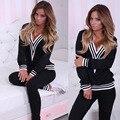2016 Nova Mulheres Cotton Hoodies Marca Treino Conjunto Terno Do Esporte Pescoço V Sexy Camisola + Calça Cinza Preto Corrida Femme Plus Size S-XL