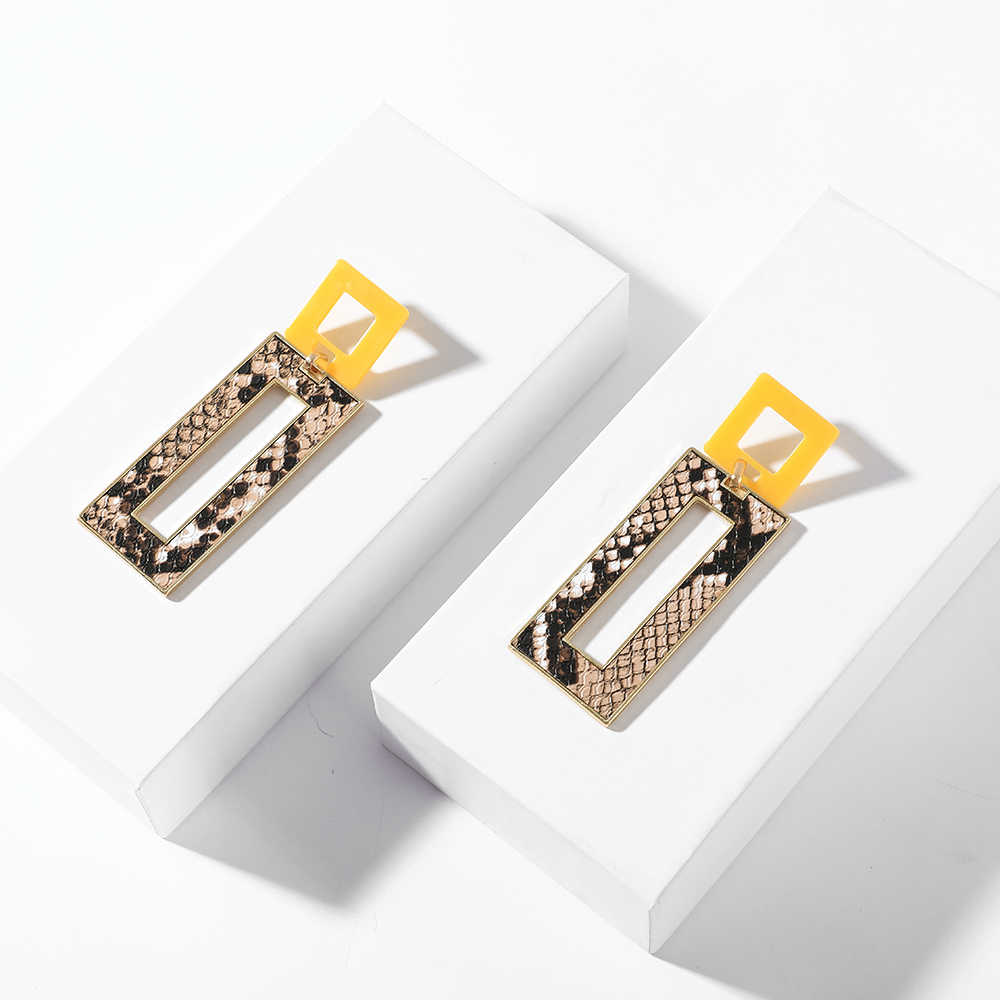 Long Geometry Snake Print Dangle Drop Earring For Women Fashion Yellow Square Acrylic Statement Za Earring Party Jewelry 2019