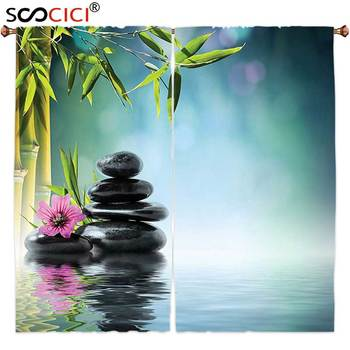 Window Curtains Treatments 2 Panels,Spa Decor Tower Stone And Hibiscus With Bamboo On The Water Blurred Background ,Home Decor