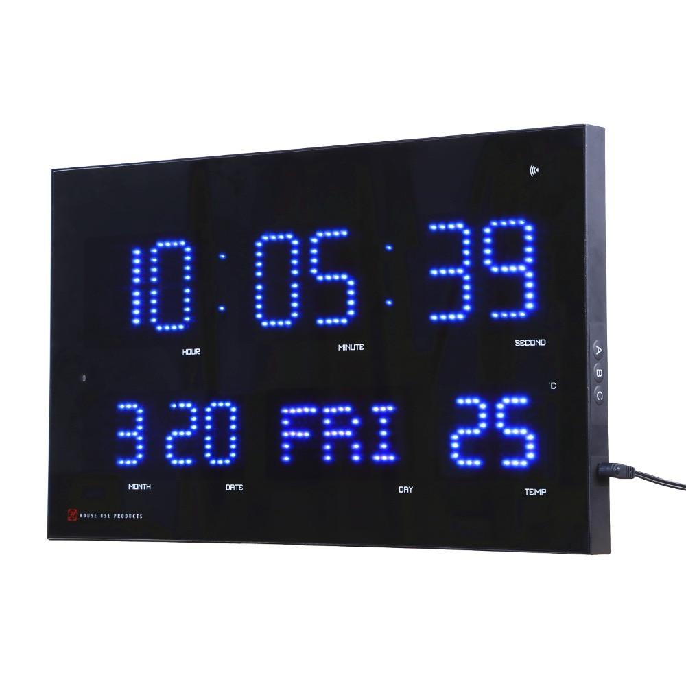 Ajuste automático del reloj de pared del Led del brillo del reloj del Calendario Electrónico del modrern con el reloj del Wavecepter de la visualización de la temperatura y la semana-in Relojes de pared from Hogar y Mascotas    1