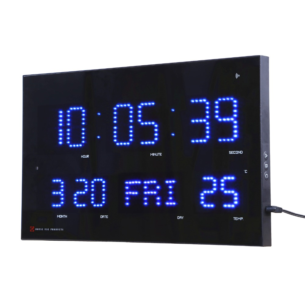 자동으로 밝기 조정 led 벽 시계 modrern 전자 led 달력 시계 온도 및 주 표시 wavecepter 시계-에서벽결이 시계부터 홈 & 가든 의  그룹 1