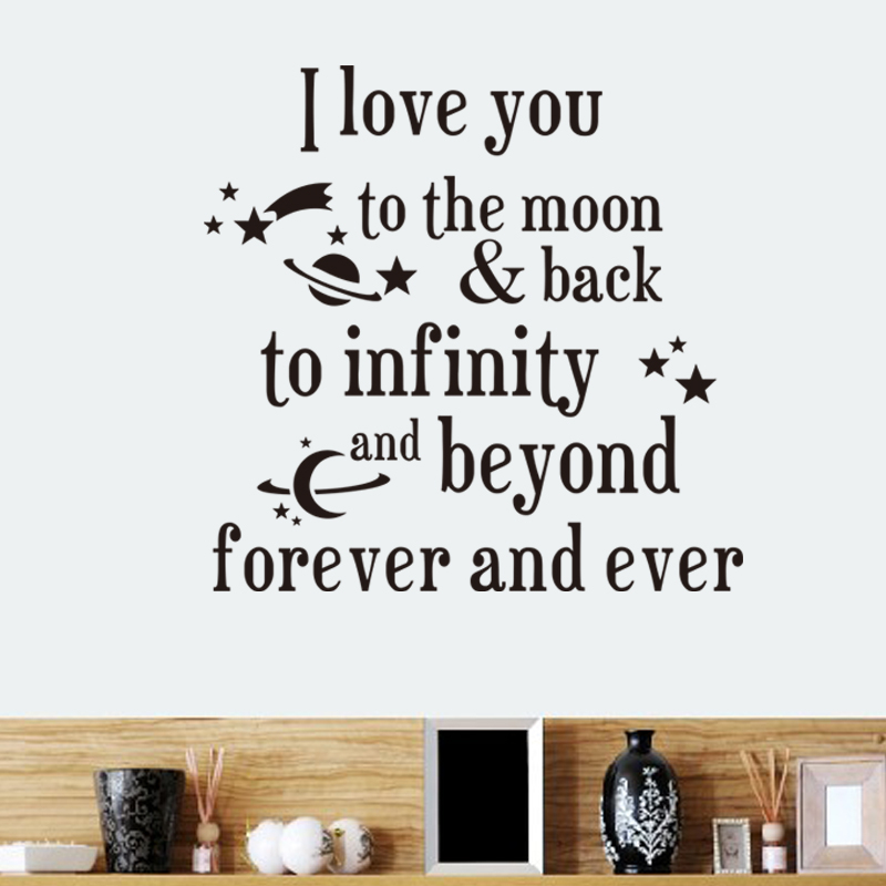 Creative I Love You Forever And Ever Quotes Wall Stickers For Kids Rooms Indoor Home Decor Diy Wall Decals Black Wallpaper image